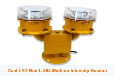 Dual LED L-864 Red Medium Intensity Obstruction Beacon